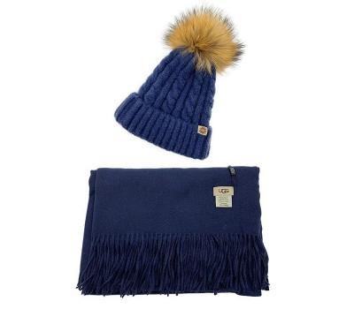UGG набор Шапка синяя + Шарф синий