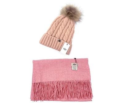 UGG набор Шапка розовая + Шарф розовый