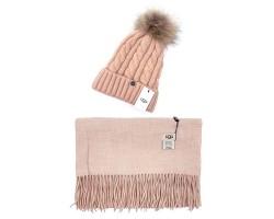UGG набор Шапка розовая + Шарф овсяный