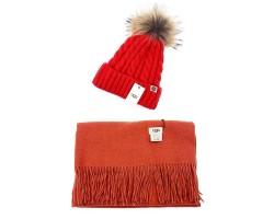 UGG набор Шапка красная + Шарф кирпичный
