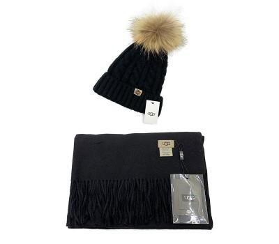 UGG набор Шапка чёрная + Шарф чёрный