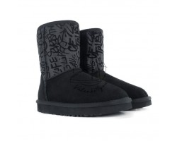 Угги Classic Short Sparkle Graffiti Boot - Black