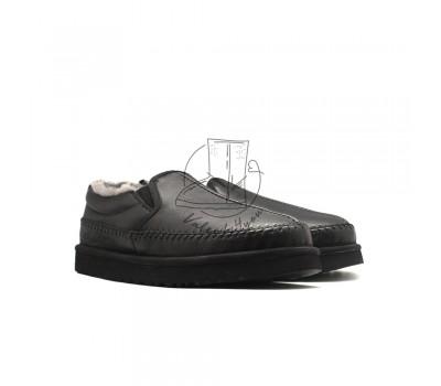 Men Slippers Stitch Leather - Black