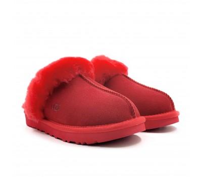 Женские меховые кожаные домашние тапочки - Samba Red
