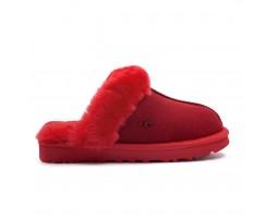 Меховые обливные домашние тапочки - Samba Red