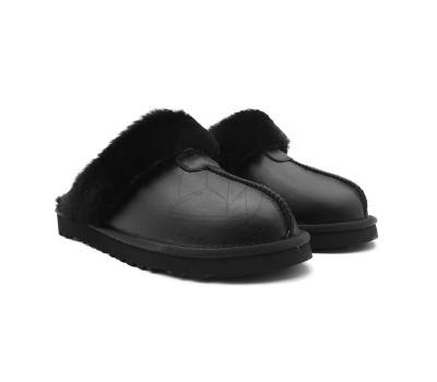 Мужские меховые обливные домашние тапочки - Чёрные