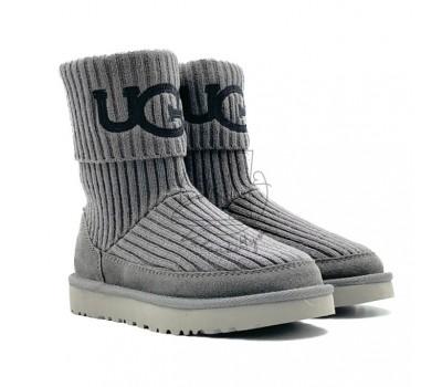 Угги Вязаные UGG® Classic Rib Knit Logo Boots - Grey