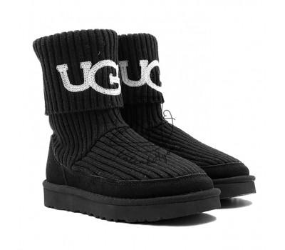 Угги Вязаные UGG® Classic Rib Knit Logo Boots - Black
