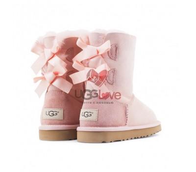 Угги Детские Непромокаемые с Бантиками - Нежно-розовые