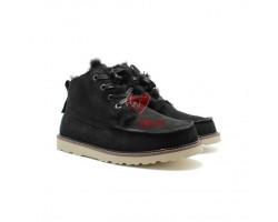 """Мужские ботинки на шнуровке с мехом """"Бекхэм"""" черные"""