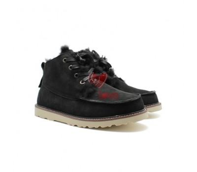 Мужские ботинки на шнуровке с мехом Beckham - Чёрные