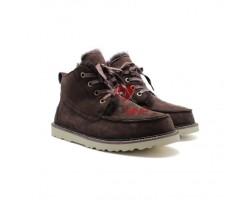 Мужские ботинки на шнуровке с мехом Beckham - Шоколадные