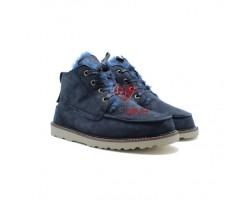 """Мужские ботинки на шнуровке с мехом """"Бекхэм"""" синие"""