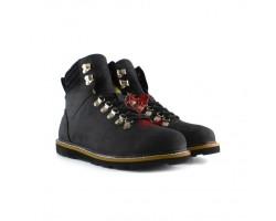 Мужские ботинки на шнуровке с мехом Capulin - Черные