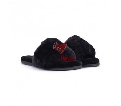 Меховые домашние тапочки Fur Slides - Чёрные