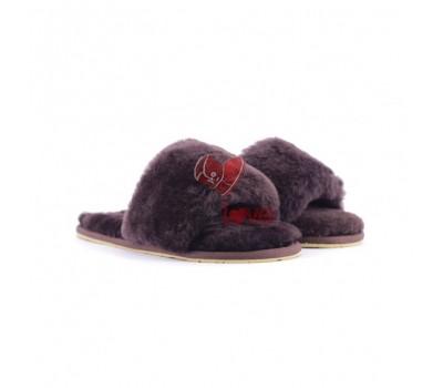 Меховые домашние тапочки Fur Slides - Шоколадные