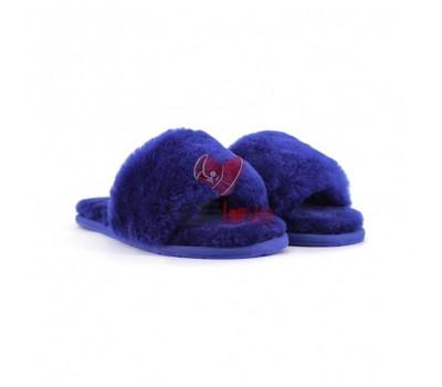 Меховые домашние тапочки Fur Slides - Синие